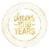Folieballon - Cheers Gold 50th Anniversary - 45cm