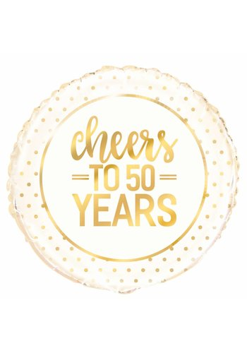 Folieballon - Cheers Gold 50th Anniversary - 45cm
