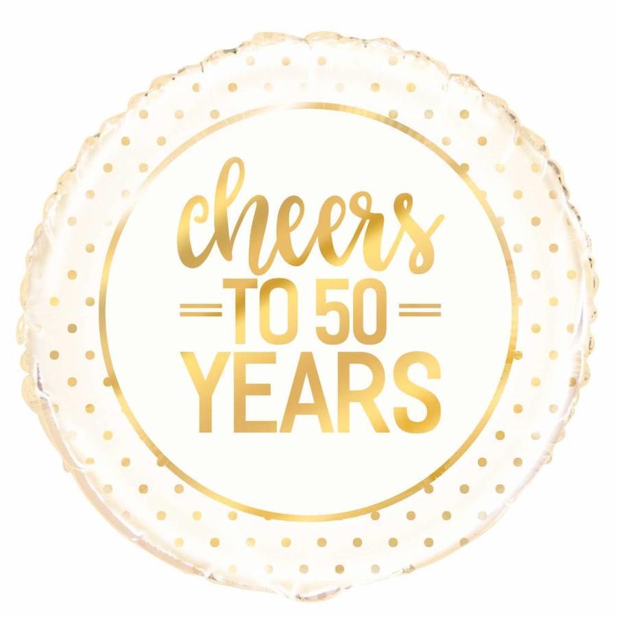 Folieballon - Cheers Gold 50th Anniversary - 45cm-1
