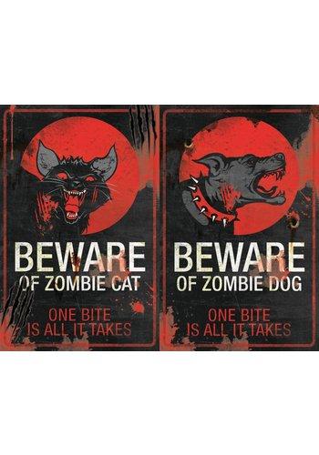 Metal Sign Beware of Zombie Cat - 43 x 28 cm