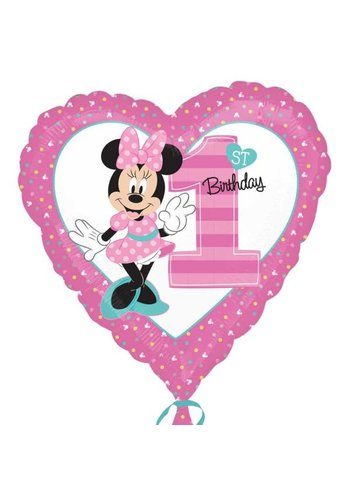Folieballon Minnie 1ste Birthday - 45cm