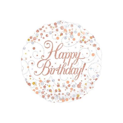 Folieballon - Sparkling wit Happy Birthday Holograpic - 45cm