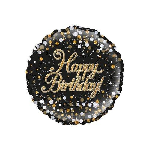 Folieballon - Sparkling zwart Happy Birthday Holograpic - 45cm