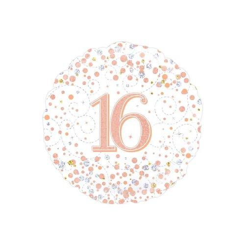 Folieballon - 16th Sparkling Fizz Birthday White & Rose Gold - 45cm