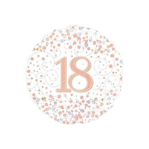 Folieballon - 18th Sparkling Fizz Birthday White & Rose Gold - 45cm