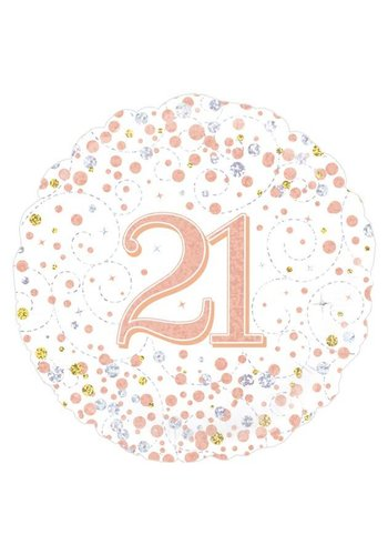 Folieballon - 21th Sparkling Fizz Birthday White & Rose Gold
