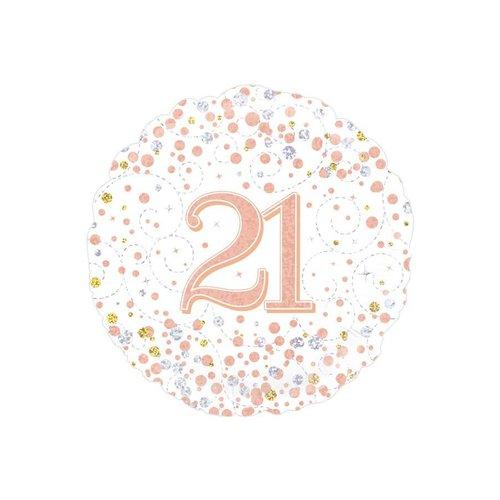 Folieballon - 21th Sparkling Fizz Birthday White & Rose Gold - 45cm