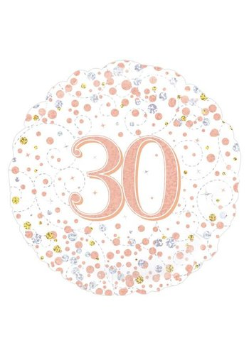 Folieballon - 30th Sparkling Fizz Birthday White & Rose Gold