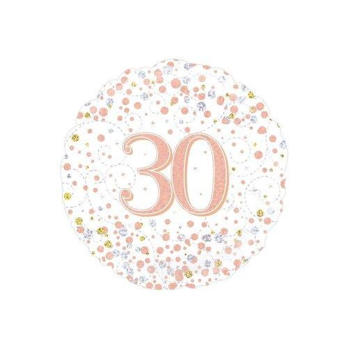 Folieballon - 30th Sparkling Fizz Birthday White & Rose Gold - 45cm
