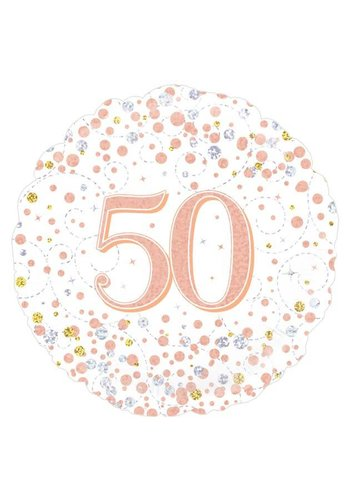 Folieballon - 50th Sparkling Fizz Birthday White & Rose Gold