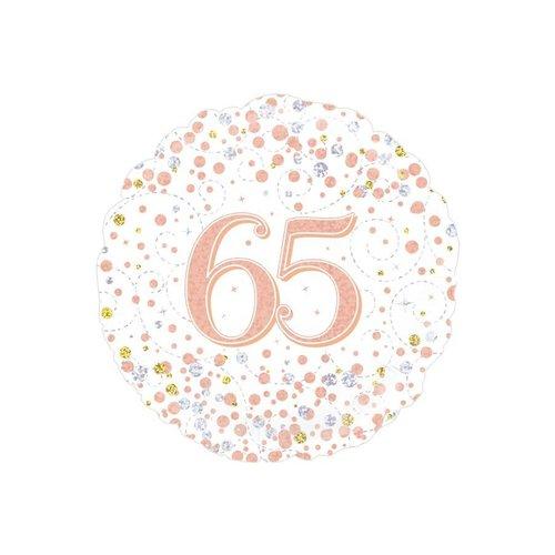 Folieballon - 65th Sparkling Fizz Birthday White & Rose Gold - 45cm