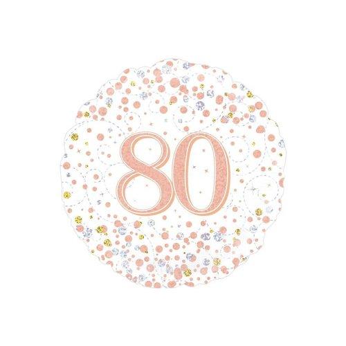 Folieballon - 80th Sparkling Fizz Birthday White & Rose Gold - 45cm