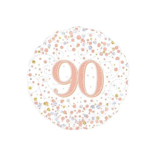 Folieballon - 90th Sparkling Fizz Birthday White & Rose Gold - 45cm