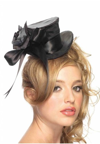 Satin Top Hat Flower - Black
