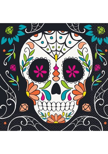 Servetten - Skull day of the dead - 33x33cm - 20 st