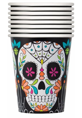 Bekertjes - Skull day of the dead - 8 st. - 25 cl.