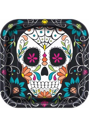 Plates - Skull day of the dead - 8 stuks - 23x23cm