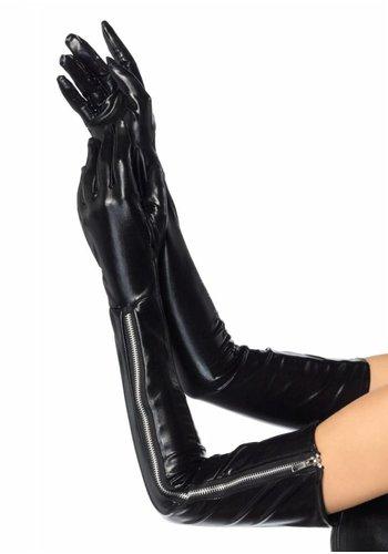 Wet Look Zipper Gloves