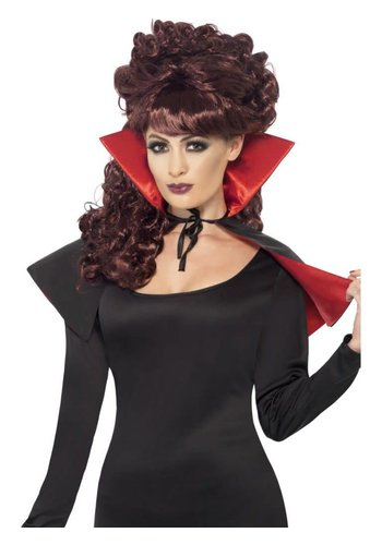 Mini Vamp Cape - Black & Red - with High Collar