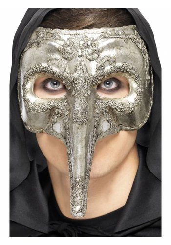 Luxury Venetian Capitano Mask - Zilver