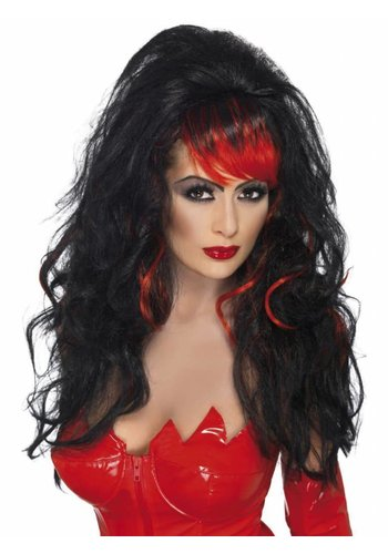 Seductress Wig - Black - Long with Streaks
