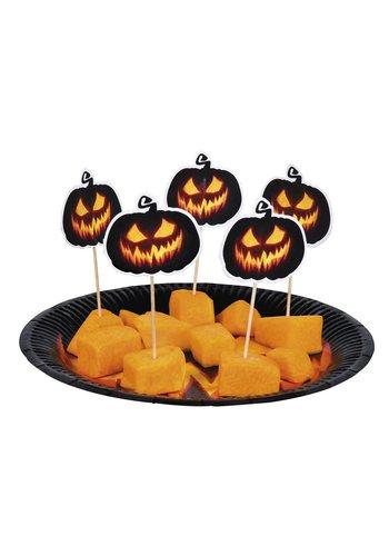 Set 12 Cocktailprikkers Creepy Pumpkin - 12 cm