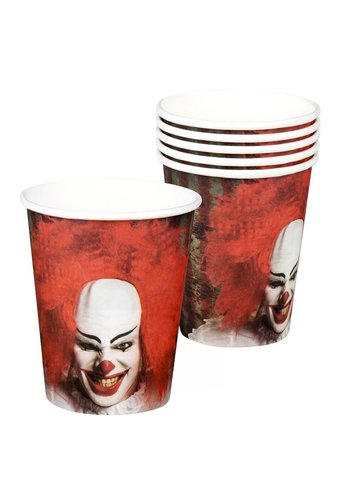 Set 6 Bekertjes Horror clown - 25 cl