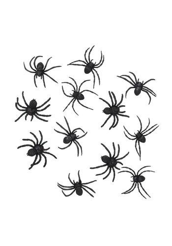 Set 12 Spinnen zwart