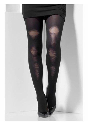 Versleten panty - Zwart
