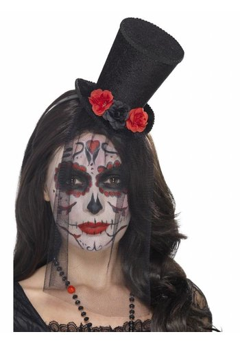 Day of the Dead Mini Top Hat op haarband