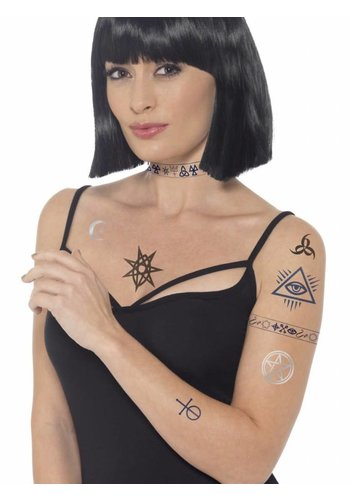 Occult Tattoo Transfers, Blue & Black