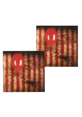 Set 12 Servetten Horror clown - 33 x 33 cm