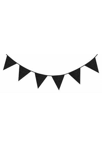 Sparkling Zwart glitter vlaggenlijn - 6 meter