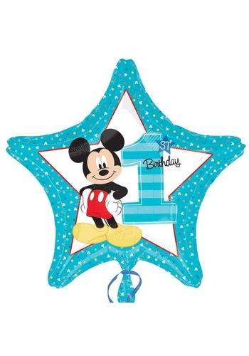 Folieballon Mickey 1ste Birthday - 45cm