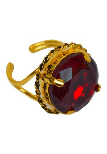 Sinterklaasring ronde steen rood