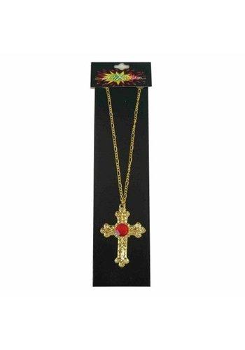 Sinterklaas kruis metaal goud+steen