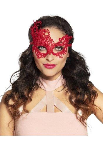 Kanten oogmasker Masquerade rood
