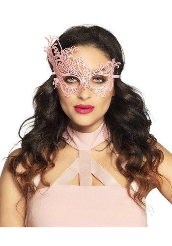 Kanten oogmasker Masquerade roze
