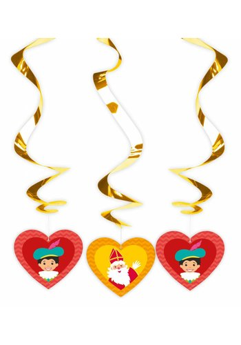 Spiraal Hangdecoratie Sinterklaas - 3 stuks