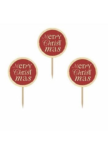 Cupcake toppers Merry Christmas - 6 stuks - 9,2 cm