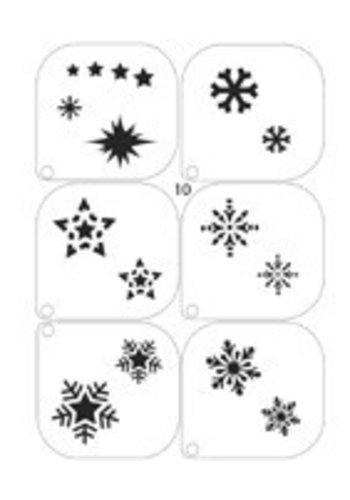 Grimeer Sjablonen - Sneeuwsterren - 6 stuks - 14,8x21cm