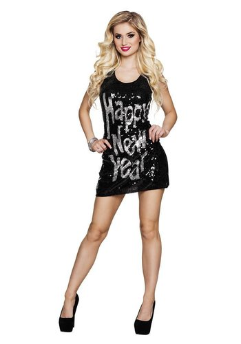 Glitterjurkje - Happy New Year - one size