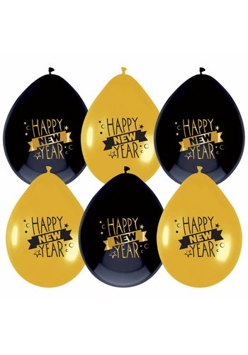 Ballonnen - Happy New Year - 25cm - 6 st