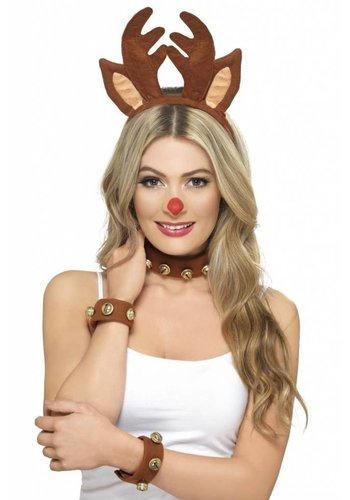 Pin Up Reindeer Kit - Brown - with Headband - Collar & Cuffs