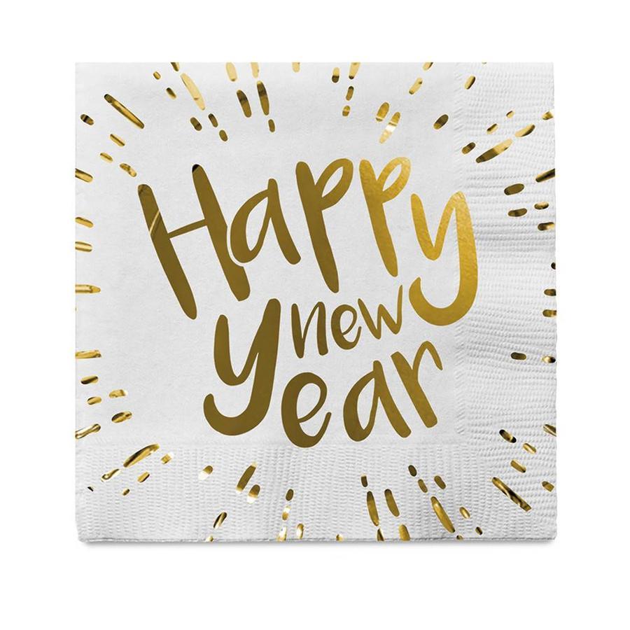 Servetten - Happy New Year - 33x33cm - 12 st-1