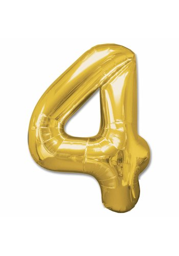 Folieballon 4 Goud - 92cm