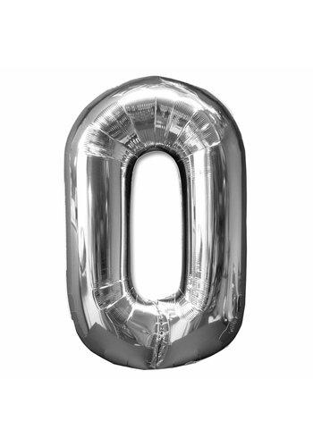 Folieballon 0 Zilver - 92cm