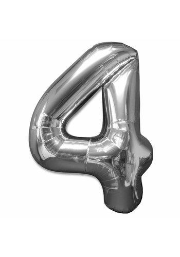 Folieballon 4 Zilver - 92cm