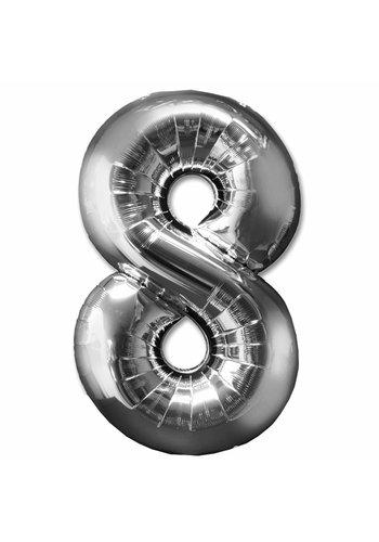 Folieballon 8 Zilver - 92cm