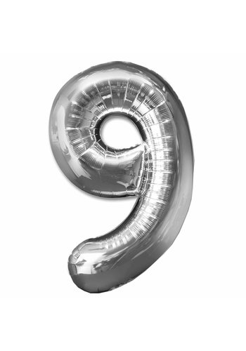 Folieballon 9 Zilver - 92cm